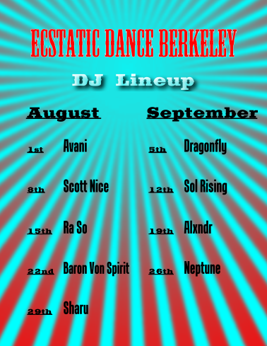 Ecstatic Dance Berkeley DJ Line Up