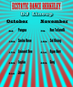DJ Line up Oct Nov