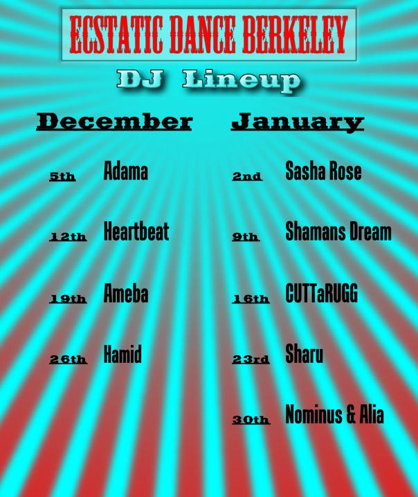 Webpage DJ Line up 4 Ecstatic Dance Berkeley